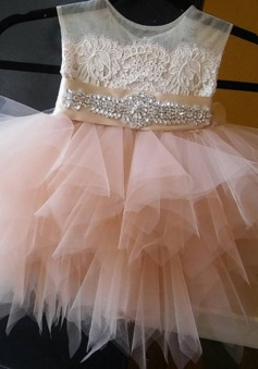 Sweet Crew Neck A-line Peach Pleats Button Flower Girl Dress with Beading Lace Sash