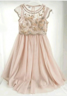 A-Line Crew Knee-Length Cap Sleeves Champagne Chiffon Flower Girl Dress with Sequins