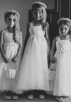 A-Line Square Long White Tulle Flower Girl Dress with Lace