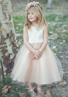 A-Line Bateau Tea-Length Blush Tulle Flower Girl Dress