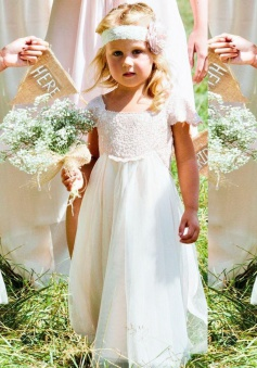A-Line Square Cap Sleeves White Tulle Flower Girl Dress with Sash Lace