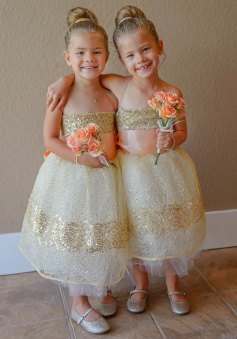 Ball Gown Spaghetti Straps Light Champagne Lace Flower Girl Dress with Sequins