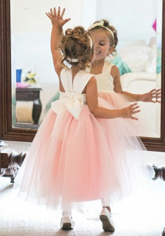 Ball Gown Square Tea-Length Pink Tulle Flower Girl Dress with Bowknot