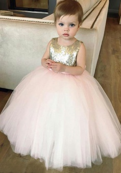 Ball Gown Bateau Pink Tulle Flower Girl Dress with Sequins Bowknot