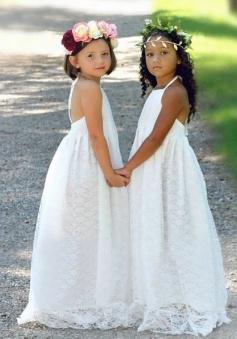 A-Line Halter Backless Floor-Length White Lace Flower Girl Dress