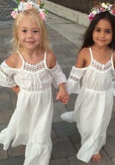 A-Line Straps Cold Shoulder White Cotton Flower Girl Dress with Lace