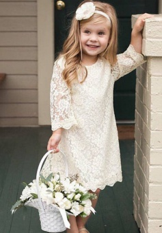A-Line Round Neck 3/4 Sleeves White Lace Flower Girl Dress