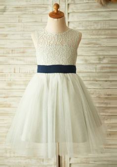 A-Line Jewel Open Back Grey Flower Girl Dress with Bow