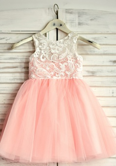 A-Line Jewel Pink Flower Girl Dress with Lace