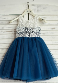 A-Line Jewel Navy Blue Flower Girl Dress with Lace