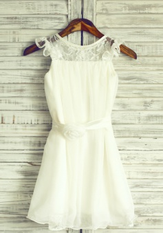 A-Line Jewel White Chiffon Flower Girl Dress with Flower