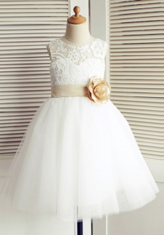 A-Line Jewel White Flower Girl Dress with Flower Bow