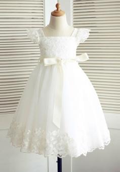 A-Line Square Neck White Flower Girl Dress Lace Sash