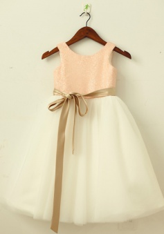 A-Line Round Neck Ivory Flower Girl Dress with Lace Sequins Sash