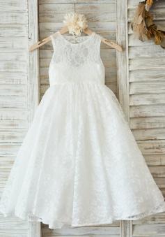 A-Line Jewel Open Back White Lace Flower Girl Dress