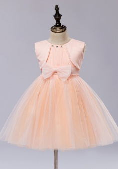 A-Line Jewel Coral Flower Girl Dress with Bow