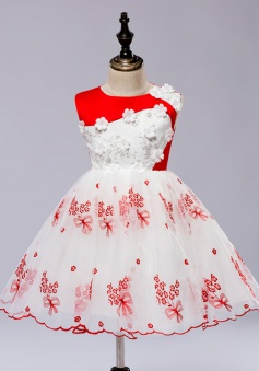A-Line Jewel White Flower Girl Dress with Red Embroidery