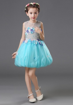 Ball Gown Jewel Blue Flower Girl Dress with Flowers