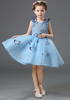 Ball Gown V-Neck Blue Flower Girl Dress with Butterfly