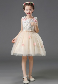 A-Line Square Neck Champagne Flower Girl Dress with Flowers
