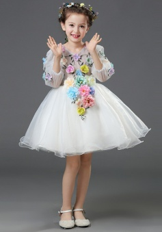 A-Line V-Neck 3/4 Sleeves White Flower Girl Dress with Flowers