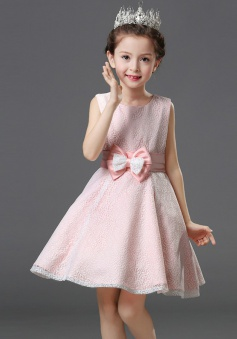 A-Line Jewel Pink Lace Flower Girl Dress with Bow