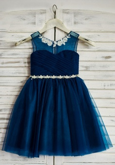 A-Line Round Neck Navy Blue Flower Girl Dress with Appliques