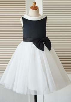 A-Line Jewel Open Back Ivory Flower Girl Dress with Appliques