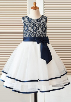 A-Line Round Neck White Flower Girl Dress with Navy Blue Bow