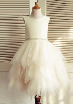 A-Line Jewel Pearl Pink Tired Flower Girl Dress with Beading