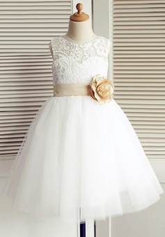 A-Line Jewel White Flower Girl Dress with Flower Lace