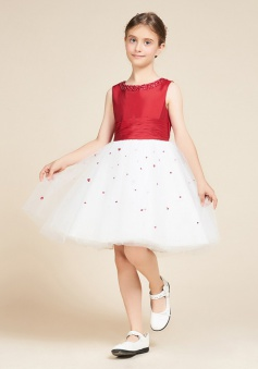 A-Line Jewel White Flower Girl Dress with Sequins Bow
