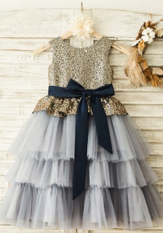 A-Line Round Neck Grey Flower Girl Dress with Sequins