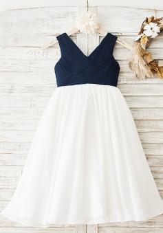 A-Line V-Neck White Chiffon Flower Girl Dress with Pleats