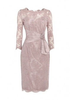 Hot Selling Knee-Length 3/4 Sleeves Wheat Lace Mother of the Bride Dress with Beading