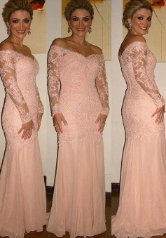 Glamorous Off Shoulder Long Sleeves Sweep Train Pink Mother of the Bride Dress with Lace Top