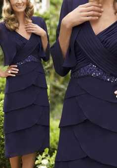 Decent V-neck Mid-Calf 3/4 Sleeves Navy Blue Mother of the Bride Dresss Tiered with Sequins Shawl