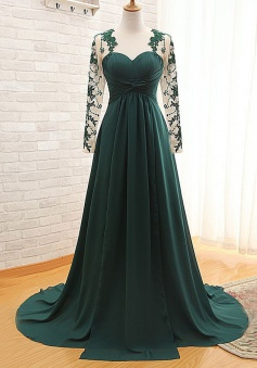 High Quality Illusion Jewel Long Sleeves Ruched Dark Green Mother of Bride Dress with Appliques