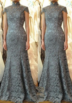 Decent Stand Collar Sweep Train Sheath Grey Lace Mother of Bride Dress Open Back
