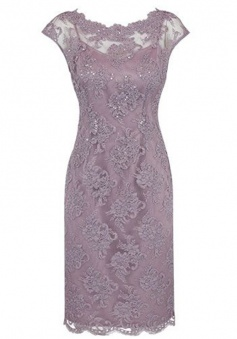 Sheath Bateau Cap Sleeves Short Grey Lace Mother of The Bride Dress with Beading