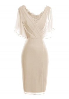 Bodycon Scoop Short Light Champagne Chiffon Mother of The Bride Dress with Lace