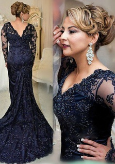 Stunning V-neck Long Sleeves Sweep Train Navy Blue Lace Mother of the Bride Dress with Beading