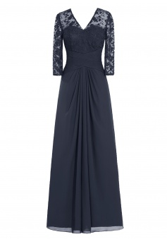 Elegant V-neck Long Sleeves Lace Navy Blue Mother of the Bride Dress