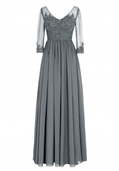 Modern Scoop Appliques Long Sleeves Grey Mother of the Bride Dress