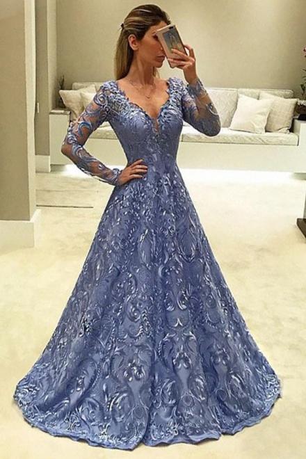 A-Line V-Neck Long Sleeves Light Sky Blue Lace Prom Dress ...