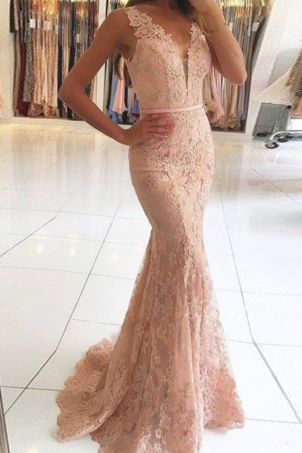 b34d6da29cd Mermaid V-Neck Sweep Train Pink Lace Prom Dress with Beading Appliques -  Wisebridal.com