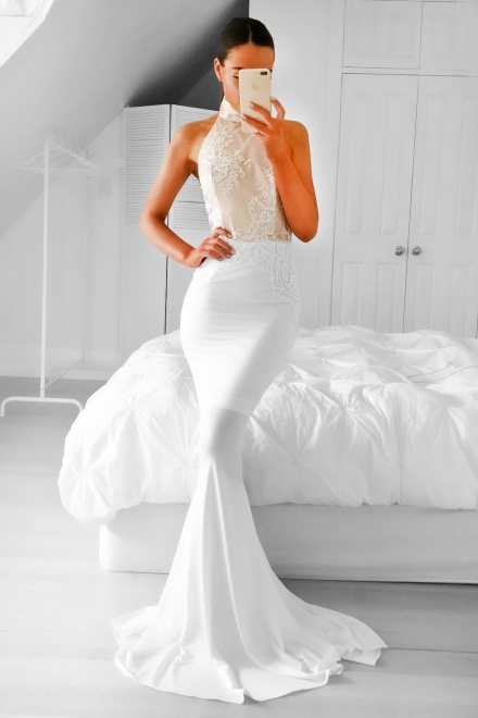 Mermaid High Neck Backless Sweep Train White Prom Dress with ...