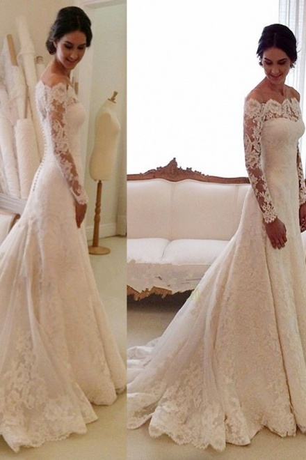 ab874648b65 Mermaid Off-the-shoulder Court Train Ivory Lace Long Sleeves Wedding Dress  with Appliques - Wisebridal.com