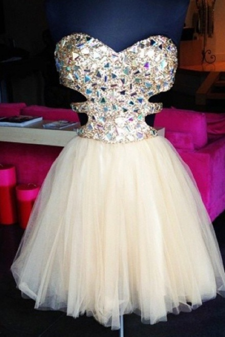 A-Line Sweetheart Backless Short Pearl Pink Tulle Prom Dress with ...