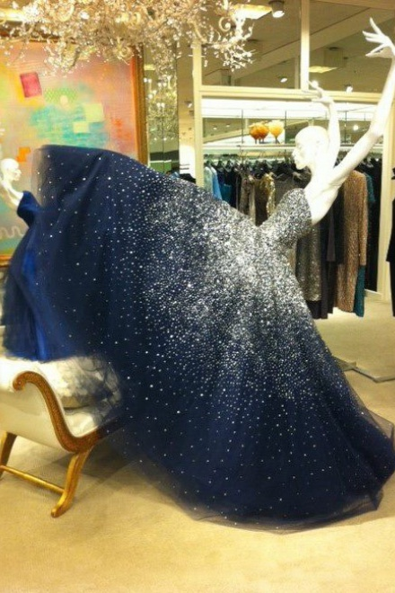 Luxurious Ball Gown Strapless Beading Tulle Long Navy Blue Prom ...